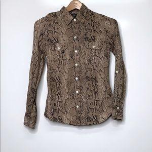 LUCKY BRAND Tan Brown Snake Print Button Shirt Top